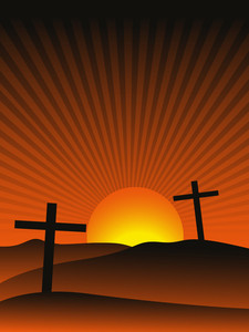 Sunset Background With Cross
