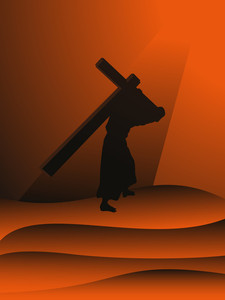 Sunset Background With Jesus Holding Cross