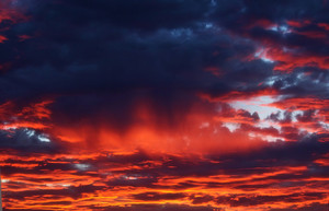 Sunset On Cloudy Evening Sky Background