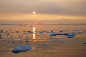 Sunset over icy waters
