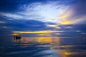 Sunset with boat Samui Thailand sea