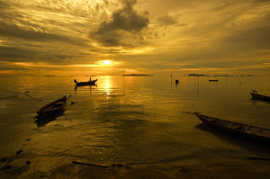 Sunset with boat Samui Thailand sea