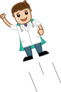 Super Doctor - Medical Cartoon Vector Character
