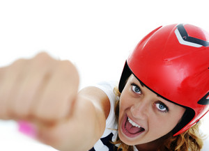Super girl with red helmet flying and yelling