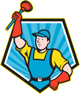 Super Plumber Wielding Plunger Pentagon Cartoon