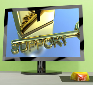 Support Key On Computer Screen Showing Online Help