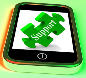 Support On Smartphone Shows Customer Support