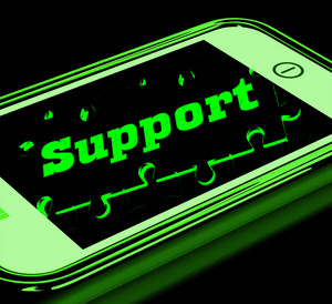 Support On Smartphone Shows Service Instructions