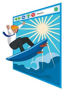 Surfer Businessman On Net Window