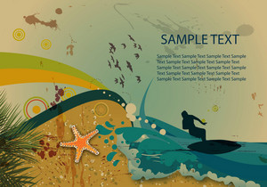 Surfer On Vintage Summer Background Vector Illustration