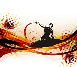 Surfer On Wave Vector Illustration