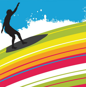 Surfer With Abstract Background
