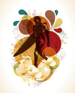 Surfer With Flowers Vector Illustration