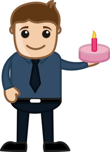 Surprise Cake - Cartoon Business Vector Character