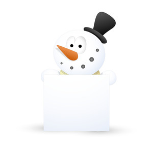 Surprised Snowman With Blank Banner