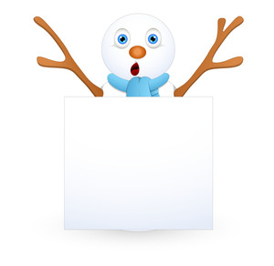 Surprised Snowman With Blank Information Banner