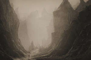 Surreal painting of a man walking through an ominous valley