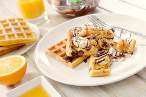Sweet Belgian Waffles On Plate