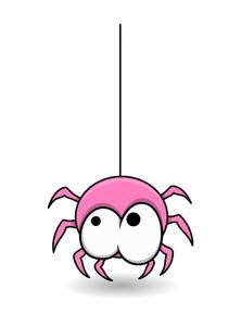 Sweet Cute Pink Spider - Halloween Vector Illustration