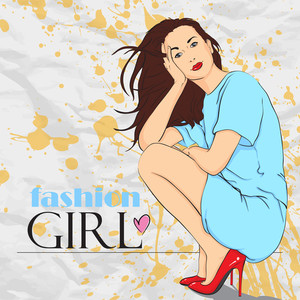 Sweet Fashion Girl In Sketch-style. Vector Illustration.