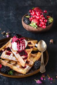 Sweet Waffles And Ice Cream