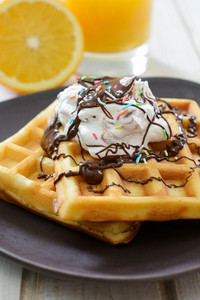 Sweet Waffles With Cream And Chocolate