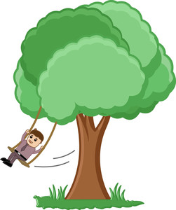 Swinging On A Tree Branch Vector Illustration
