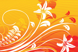 Swirl And Floral Elements Red And Yellow