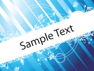 Swirl Design Elements And Butterfly For Sample Text In Blue Pattern