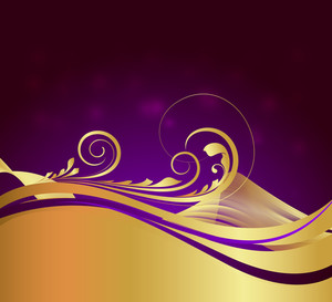 Swirl Golden Wavy Flourish Design