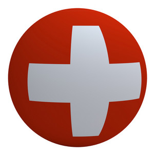 Switzerland Flag On The Ball Isolated On White.
