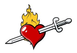 Sword In Heart With Flames Vector Illustration