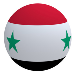 Syria Flag On The Ball Isolated On White.