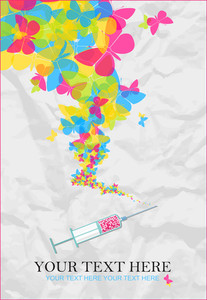 Syringe With Butterflies On A Paper Background. Vector Illustration