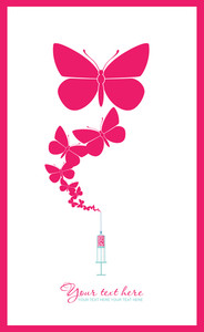 Syringe With Butterfly. Abstract Vector Illustration