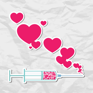 Syringe With Heart. Vector Illustration