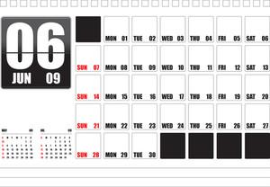 Table Top Calendar 2009 - June (editable Text)