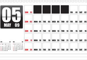 Table Top Calendar 2009 - May (editable Text)