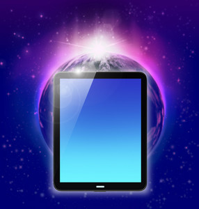 Tablet Pc On Planet Earth And Sunrise Background
