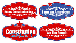 Tags And Stickers Constitution Day Vector Illustration