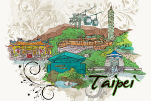 Taipei Doodles With Floral Vector Illustration