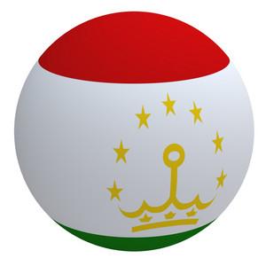 Tajikistan Flag On The Ball Isolated On White.