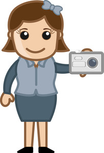 Taking Picture - Office Character - Vector Illustration