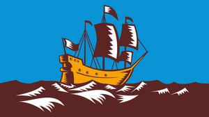 Tall Sailing Ship Retro Woodcut