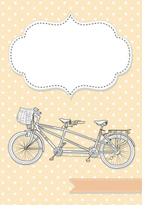 Tandem Bicycle Wedding Invitation With Polka Dot Background