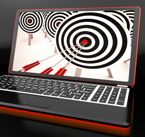 Target Hit On Laptop Showing Perfect Shot