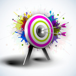 Target With Hitting Darts On Grungy Colorful Background