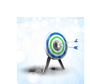 Targets With Hitting Darts On Abstract Blue Background.