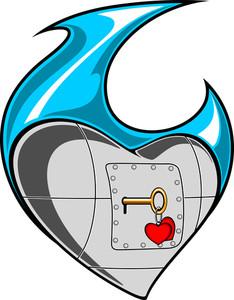 Tatto Heart With Lock.