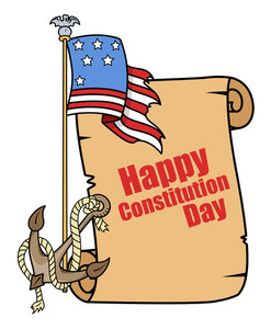 Tattoo Cartoon Style  Constitution Day Vector Illustration